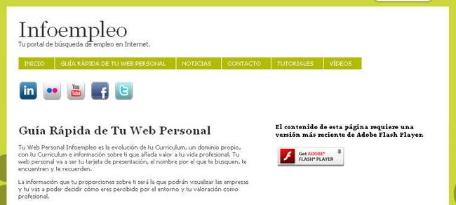 Servicio web de páginas personales con Infoempleo